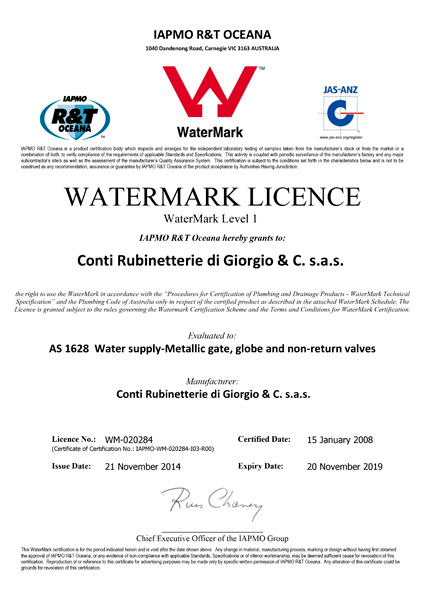 Conti Rubinetterie has a Watermark Licence in compliance with AS 1628 standards