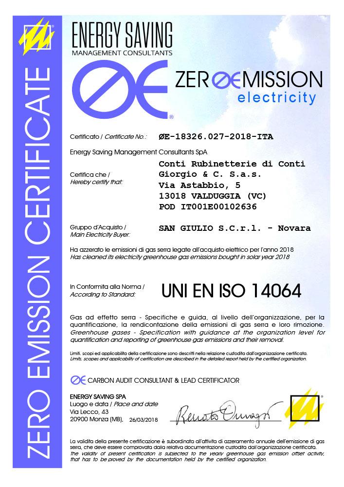 Zero emission (UNI EN ISO 14064)